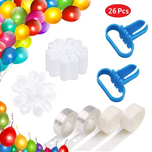 Ouflow Balloon Decorating Strip Kit 32ft Reusable Arch Garland Streamer,2 Pcs Tying Tool,200 Dot Glue,20 Flower Clip for Wedding Birthday Xmas Party Decoration Supplies