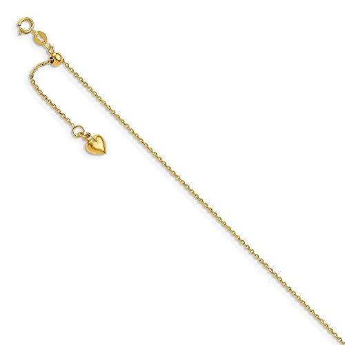 Leslies Real 14kt Yellow Gold Polished Dangle Heart Adjustable Anklet; 11 inch