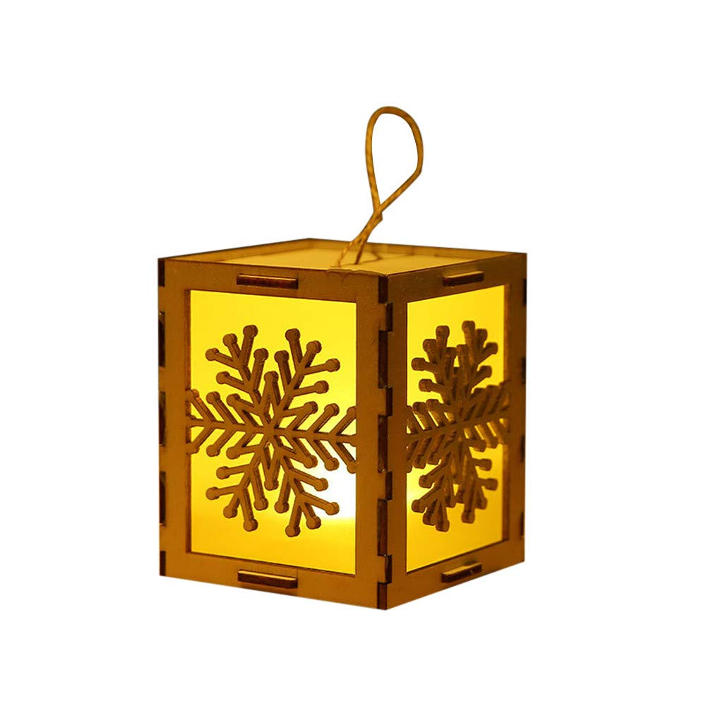AKwell Wooden House Christmas Decoration, Festival LED Light Wood House Christmas Tree Hanging Lamp Ornament Fairy Lights Pendant Window Decoration for Indoor Party Bedroom