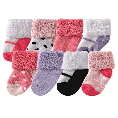 Luvable Friends Unisex 8 Pack Newborn Socks, Pink Shoes, 0-6 Months