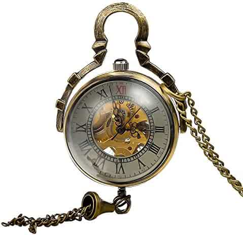 Retro Steampunk Glass Ball Transparent Skeleton Mechanical Pocket Watch with Chain