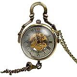 Mudder Steampunk Glass Ball Transparent Skeleton Mechanical Pocket Watch Chain