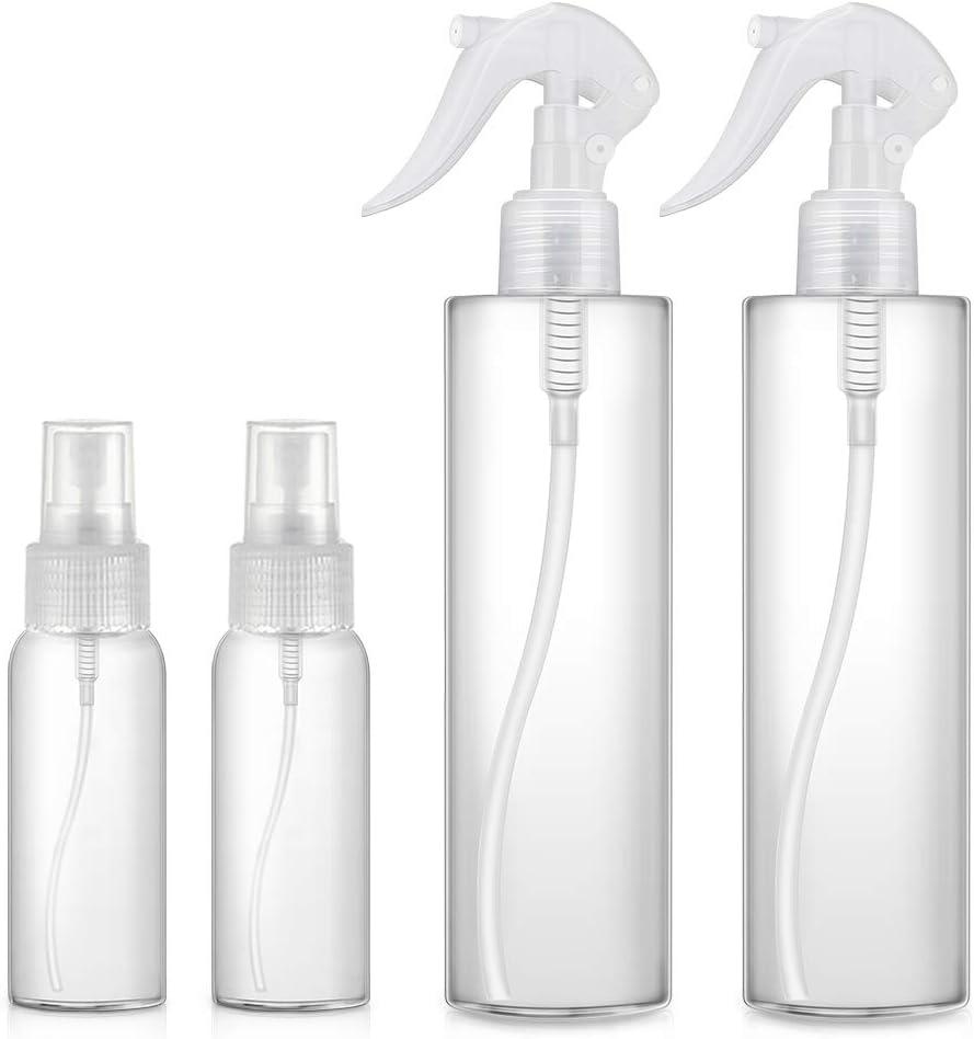 4PCS - Botella de Spray Plástico, (2x50ml + 2x300ml) Transparentes Botes de Pulverizacion Vacíos para Perfume, Botella Cosmetica Atomizador Pulverizador Recipientes para Viaje/Desinfeccion