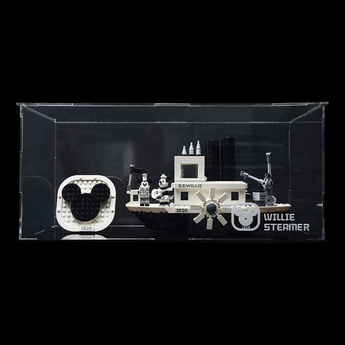 Schaukasten Acryl Vitrine Display Case f/ür Lego Disney Mickey Willie Steamship 21317 Ohne Modell DXX Acryl Schaukasten Vitrine