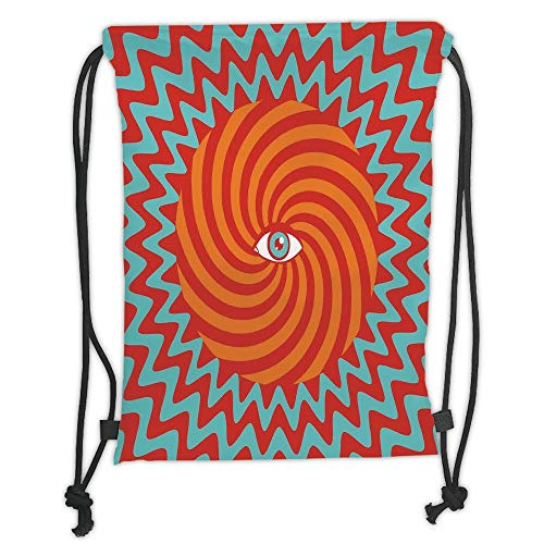 New Fashion Gym Drawstring Backpacks Bags,Vintage Decor,Inner Eye in Centre of Spiral Lines with Concentric Circle Pattern Hypnotic Art,Multi Soft Satin,Adjustable String Closure, ()