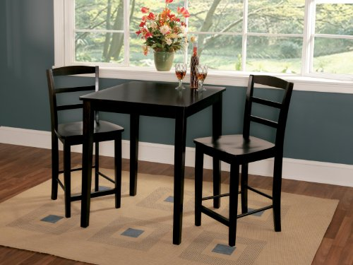 International Concepts 3 Piece Gathering Height Dinette Set in Black