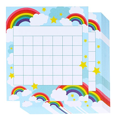 Colorful Rainbow Desk Incentive Chart, 60-Pack Classroom Incentive Chart, 5.25 x 6 Inches