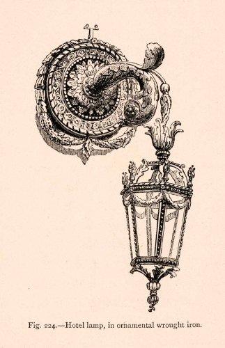 1876-wood-engraving-hotel-lamp-ornamental-wrought-iron-lantern-18th-century-art-original-engraving