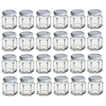 Nakpunar 1.5 oz Mini Hexagon Glass Jars with White Plastisol Lined Lids - Set of 24 - Value Pack