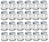 Nakpunar 1.5 oz Mini Hexagon Glass Jars with White Plastisol Lined Lids - ...