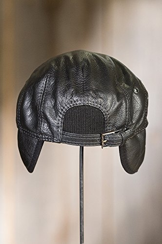 Overland Sheepskin Co. Allen Leather IVY Cap, Black, Size Large (7 1/4-7 3/8) by Overland Sheepskin Co (Image #5)