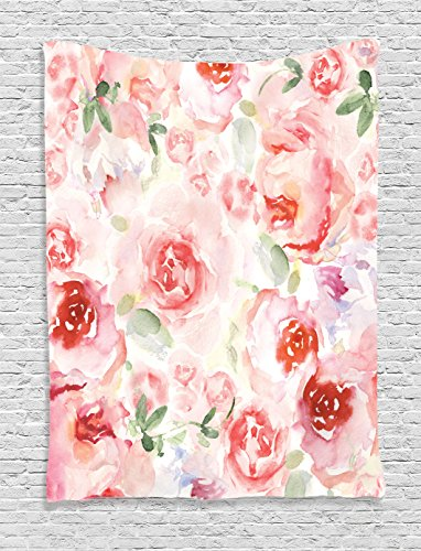 - Ambesonne Watercolor Flower Decor Collection, Soft Colored Pale Faded Mix of Roses Vintage Style Romantic Dream Painting , Bedroom Living Room Dorm Wall Hanging Tapestry, Pink Green