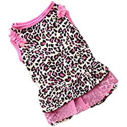 Voberry Cute Small Dog Cat Leopard Dress Puppy Pet Summer T-Shirt Clothes Apparel (S, Pink)