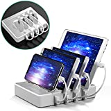 IMLEZON 4 Charging Station for Multiple Devices Ipad Charging Station with Switch for Apple and Android Devices (White, Including Short Cables 2 for Apple and 2 for Android)