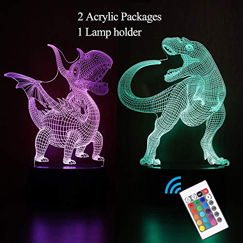 SpringFour 3D Dinosaur Night Light, Decorative LED Bedside Table Lamp for Kids Room Xmas Birthday Gifts for Boys Girls Child (Best Xmas Gifts For Kids)