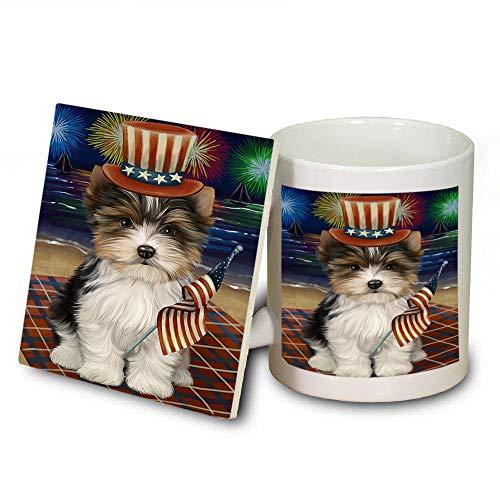 4th of July Independence Day Firework Biewer Terrier Dog Mug and Coaster Set MUC52400 (Independence Coasters Safe Dishwasher)
