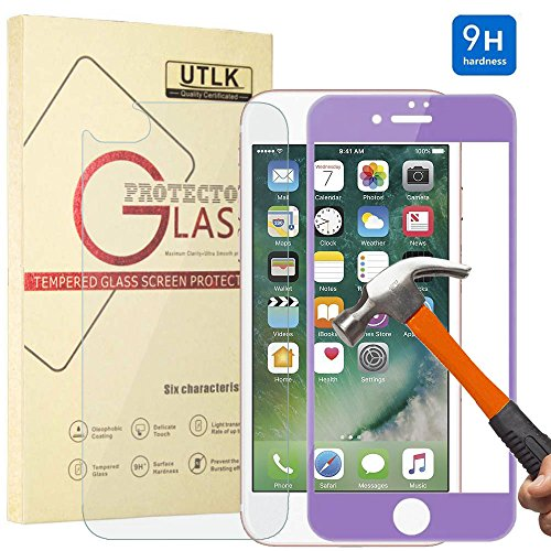 iPhone 7 Plus Front Back Glass Screen Protector Purple, UTLK 3D Fully Cover Colored Tempered Glass Body Sticker 9H Hardness Premium Tempered Glass Screen Protector For iPhone 7 Plus 5.5 inch