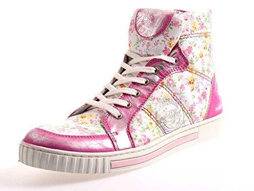 Nice Feet hohe Sneaker Knöchelschuhe aus Leder Damenschuhe bunt 713 Fuchia