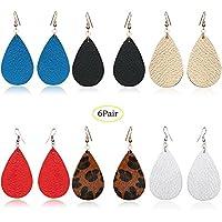 4/6 Pairs Petal Teardrop Genuine Leather Earrings - Lightweight Leaf Drop Earrings Gift For Women Girls