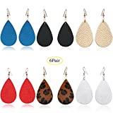 4/6 Pairs Petal Teardrop Genuine Leather Earrings - Lightweight Leaf Drop Earrings Gift For Women Girls