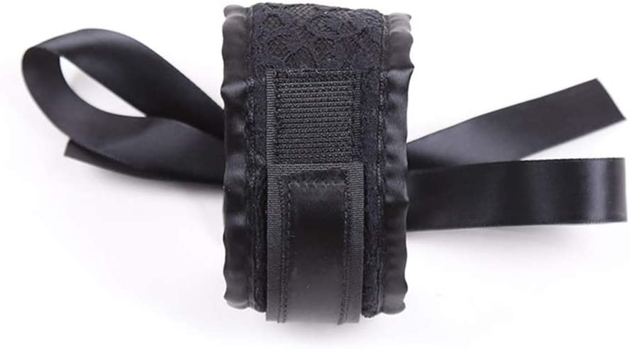 Black1 amzcoin Womens Lingerie Lace Blindfold Eye Mask Role Play Handcuff Costume Parties