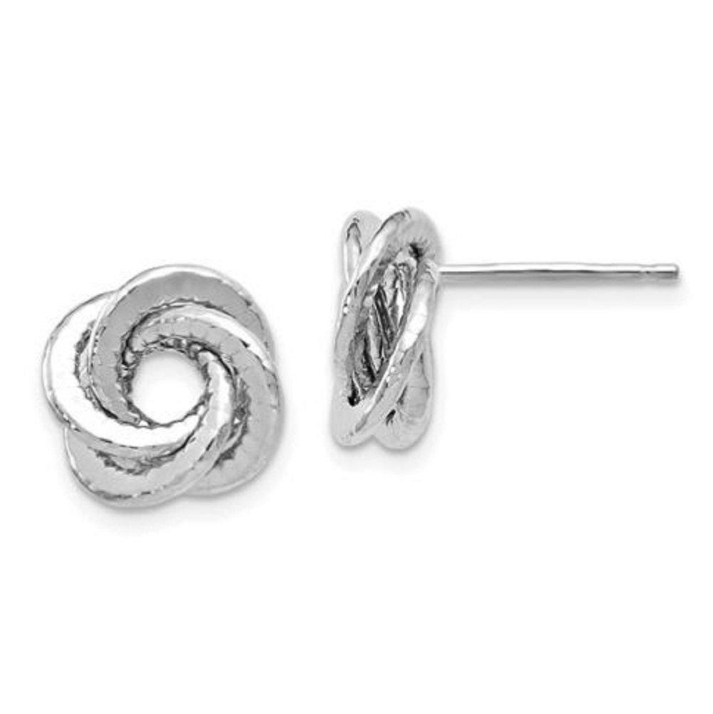 Leslie's 14k White Gold Polished Textured Love Knot Earrings
