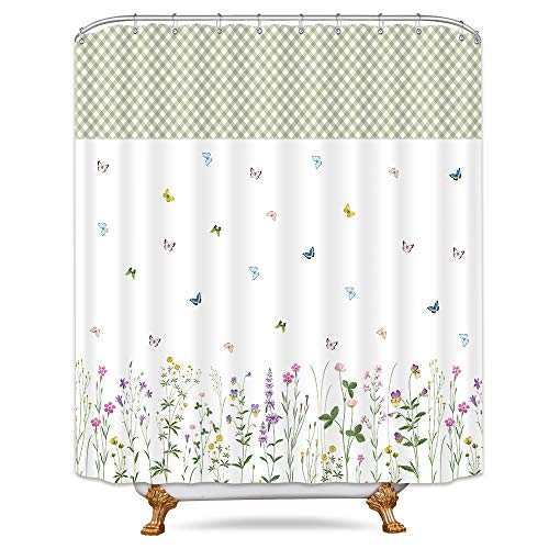 Plastic Flowers Butterfly - Riyidecor Colorful Butterfly Shower Curtain Herbs Botanical Floral Geometrical Flowers Spring Decor Bathroom Set Polyester Waterproof 72x72 Inch  Plastic Hooks 12 Pack