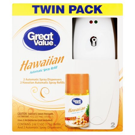 Dispenser Automatic Mist (Great Value Automatic Spray Refill Twin Pack, Hawaiian - 2 Count)