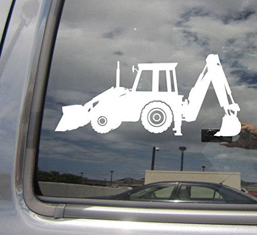 (Right Now Decals - Backhoe Loader - Heavy Equipment Construction Operator Engineer - Cars Trucks Moped Helmet Hard Hat Auto Automotive Craft Laptop Vinyl Decal Window Wall Sticker 10382)