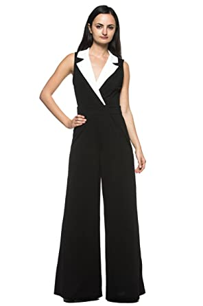 d1fb6bf0f9d Women s Black White Tuxedo Collar Lapel V Neck Wide Leg Pant Suit Work  Jumpsuit (Small