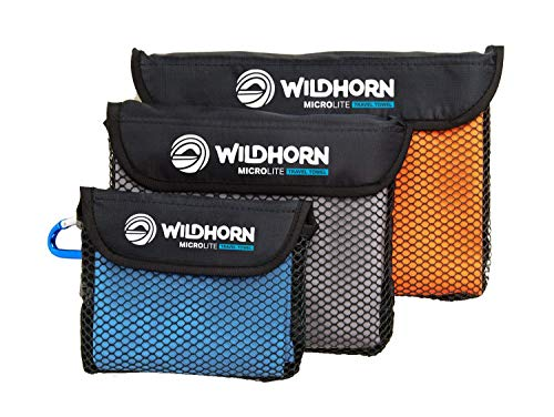 (WildHorn Outfitters Microlite Travel Towel Bundle for Camping, Hiking & Backpacking. Microfiber Quick Dry Towel Set - Large, Medium & Small Sizes Included.)
