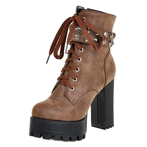 Smilice Large Size & Small Size Women Fashion Ankle Booties High Block Heel Platform Boots Brown
