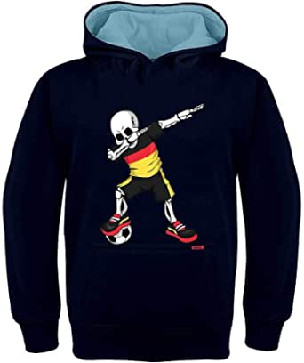 HARIZ Sudadera con capucha para niños, diseño de esqueleto de la selección alemana