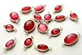 Ruby glass filled 1 side faceted oval shaped silver connector,double loop, 7x8 mm to 11x12 mm,10 Pieces