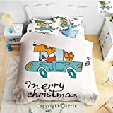 Homenon Bedding 4 Piece Sheet,Blue Vintage Car Dog Driving with Santa Costume Cute Bird Tree and Gift Present,White Multi,Full Size,Suitable for Families,Hotels