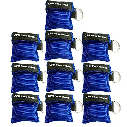 (Pack of 10pcs Blue CPR Mask Keychain Ring Emergency Kit Rescue Face Shields with One-Way Valve Breathing Barrier for First Aid or AED)