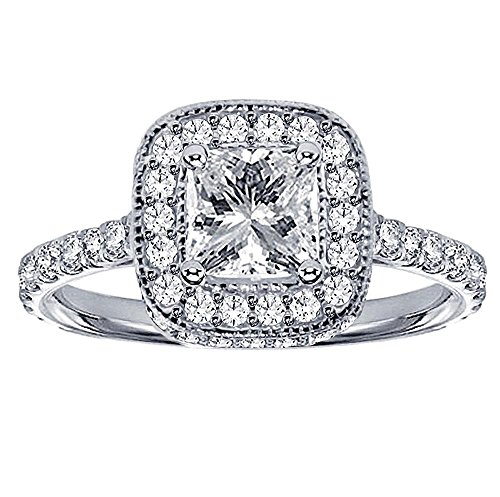 1.66 CT TW Pave Set Diamond Encrusted Princess Cut Engagement Ring in Platinum - Size 12 - 1.66 Ct Princess Diamond