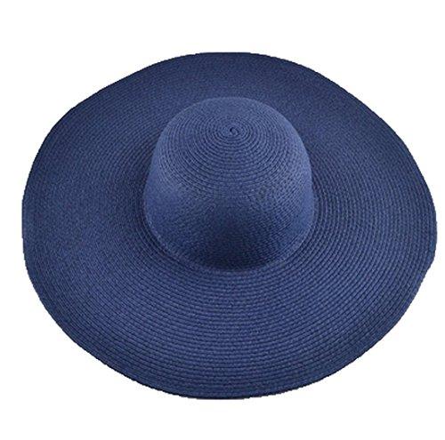 AngelCity Brides Womens Beach Hat Striped Straw Sun Hat Floppy Big Brim Hat (Navy Blue) (Navy Sun Hat)