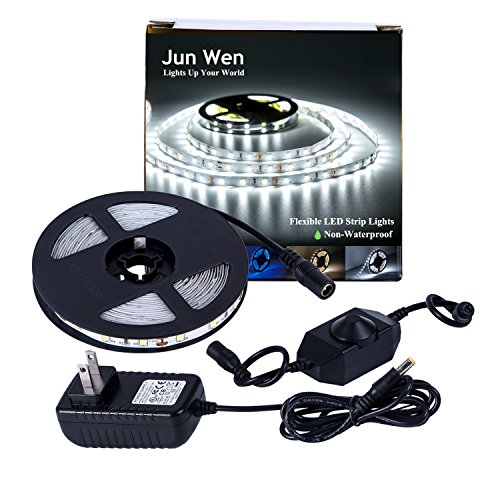 LED Strip Lights300UnitsSMD2835 Rope Lights 5M/16.4 Ft 6000kNon-waterproof LEDTape Ribbon Light with Dimmer and Power SupplyKitchen Under Cabinet Dining Room Bedroom Wedding by JUNWEN