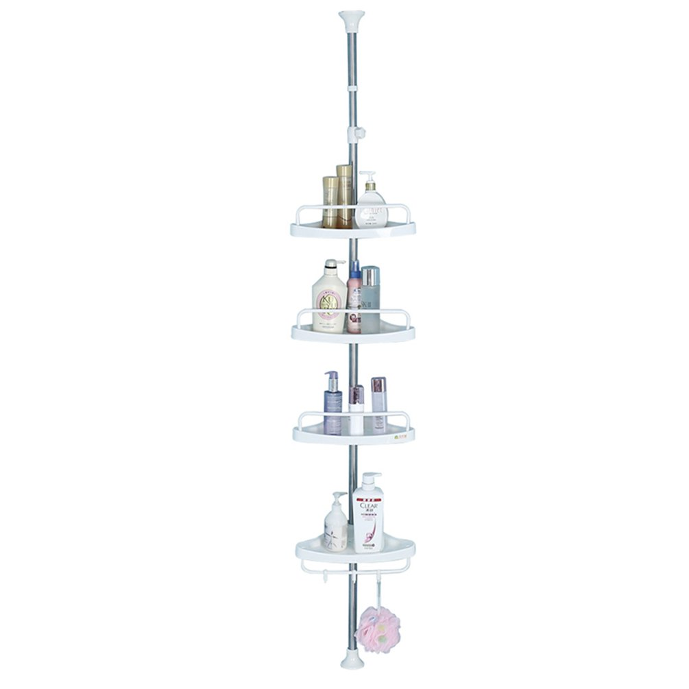 Baoyouni 4 Tier Bathroom Corner Shower Caddy Pole, Rust Proof Tension Rod Storage Rack, White