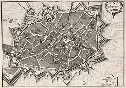 - Historic Map | 1705 Plan de l'ancienne et Nouvelle Ville de Dijon, France. | Vintage Wall Art | 44in x 31in
