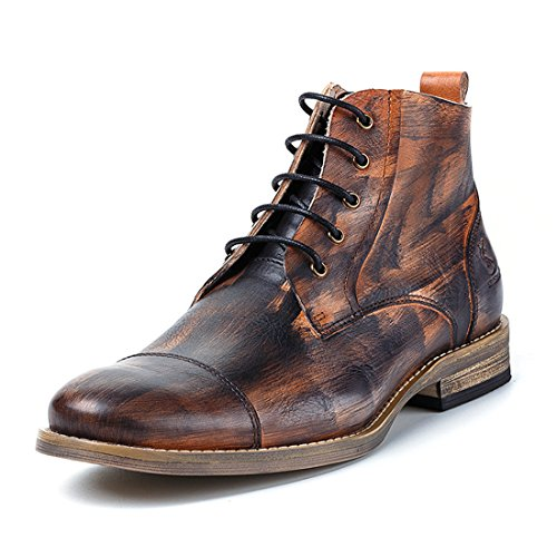 Mens Premium Cowskin Leather Chukka Boots Casual Lace Up Ankle Booties D0122A Wine Red SNVx5RJ0d7