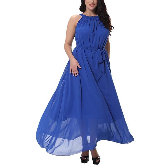 Zhhlinyuan Mujeres Tallas Grandes Gasa Noche Dama de honor Vestidos Largos Maxi Boda Ball Gowns Vestido