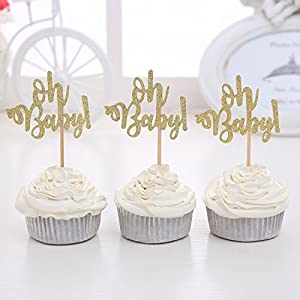 Giuffi Set of 24 Golden Oh Baby One Cupcake Toppers Party Decors Baby's Birthday - by