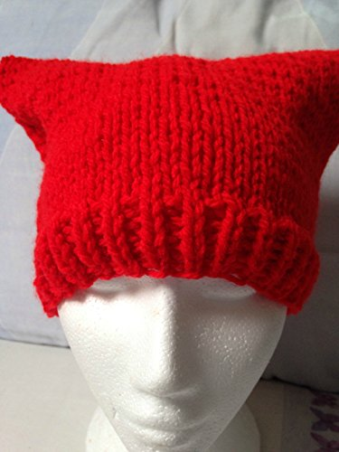 Red Hand Knit Pussy Cat / Animal Beanie Hat