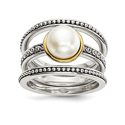 (925 Sterling Silver 14k 8mm Button Freshwater Cultured Pearl Set Of 3 Band Rings Size 8.00 Ring Stackable Gemstone White Cz Fine Jewelry Gifts For Women For Her)