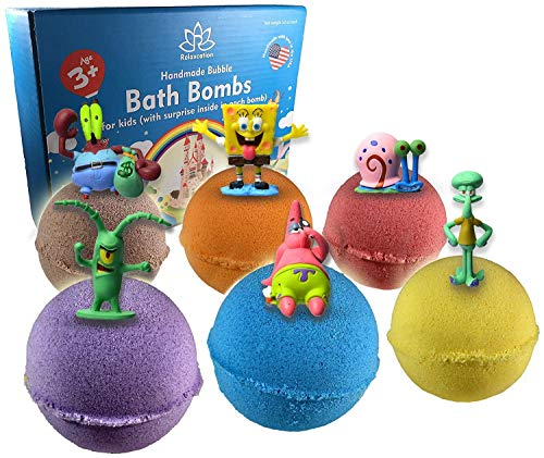 (Organic Handmade Bath Bombs with SPONGE AND FRIENDS TOYS INSIDE for Kids – Natural and Safe Bath Bombs with Essential Oils – with Toys Inside – Great Gift Set for Boys and Girls)