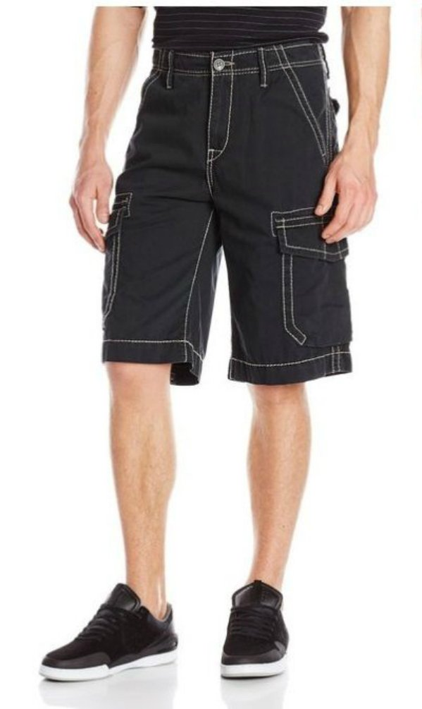 True Religion Men's Big T Cargo Short (27, Black)
