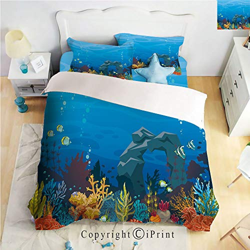 Homenon Bedding 4 Piece Sheet,Colorful Coral Reef with Fishes and Stone Arch Under The Sea Natural Seascape Decorative,Multicolor,Full Size,Wrinkle,Fade Resistant