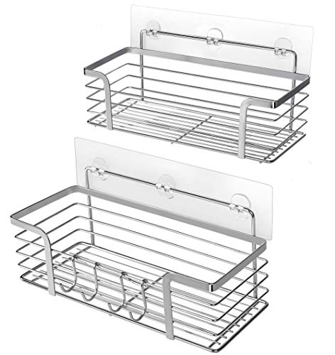 Adhesive Shower Caddy Basket Shelf - Shampoo Conditioner Bathroom Kitchen Storage Organizer SUS304 Stainless Steel No Drilling - 2 ()